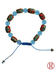 Viking Bracelet with Mosaic Stones Blue 2