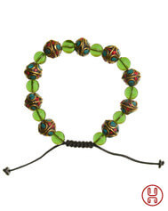 Viking Bracelet with Mosaic Stones Green