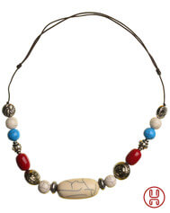 Medieval Viking Necklace Resin multi colored 8