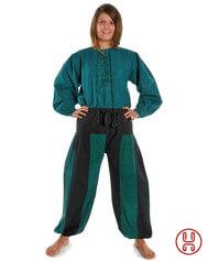 Mittelalterhose Piratenhose Damen in grün-schwarz, rot-schwarz und braun-schwarz