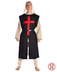 Medieval Tabard black with red cross
