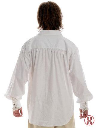 Schnuerhemd mit weitem Kragen in weiss Rückansicht