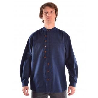 Mittelalter Hemd Erec in Blau Frontansicht