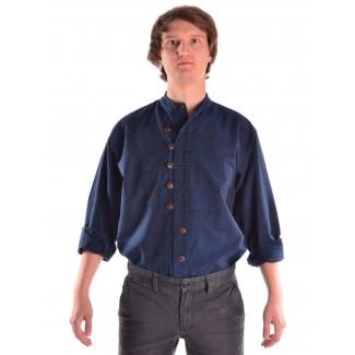 Mittelalter Hemd Erec in Blau Frontansicht 2