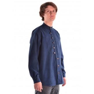 Mittelalter Hemd Erec in Blau Seitenansicht