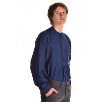 Mittelalter Hemd Orilus in Blau Seitenansicht