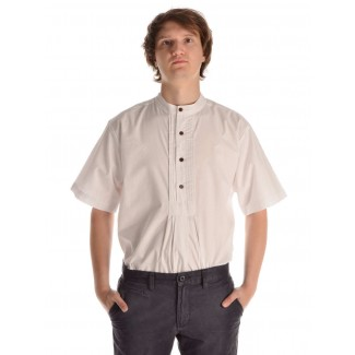 Mittelalter Hemd Feirefiz Kurzarm in Weiß Frontansicht