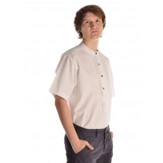 Mittelalter Hemd Feirefiz Kurzarm in Weiß Seitenansicht