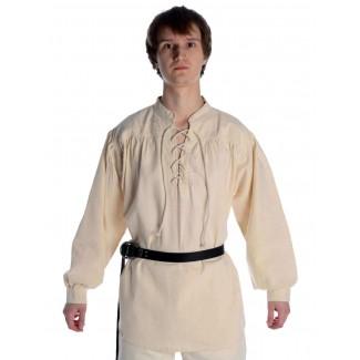 Mittelalter Schnürhemd Artus in Beige Frontansicht