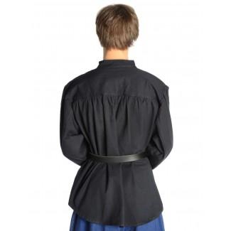 Mittelalter Schnürhemd Artus in Schwarz Rückansicht