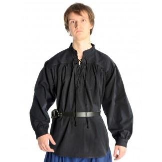 Mittelalter Schnürhemd Artus in Schwarz Frontansicht