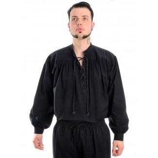 Mittelalter Schnürhemd Artus in Schwarz Frontansicht 2