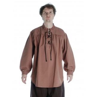 Mittelalter Schnürhemd Artus in Hellbraun Frontansicht