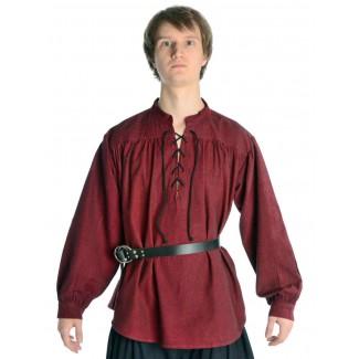 Mittelalter Schnürhemd Artus in Rot Frontansicht