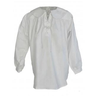 Musketier Schnürhemd Ither in Weiß Frontansicht