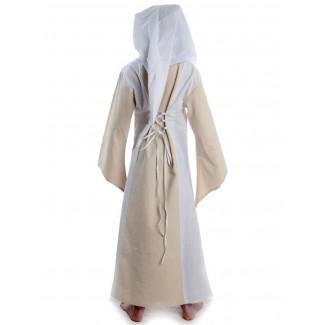 Mittelalter Kinderkleid Obilot in Beige-Weiß Rückansicht