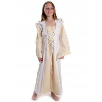 Mittelalter Kinderkleid Obilot in Beige-Weiß Frontansicht