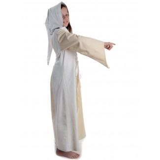 Mittelalter Kinderkleid Obilot in Beige-Weiß Seitenansicht