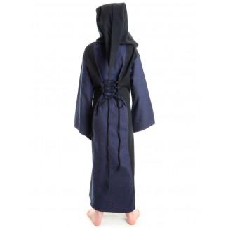 Mittelalter Kinderkleid Obilot in Blau-Schwarz Rückansicht