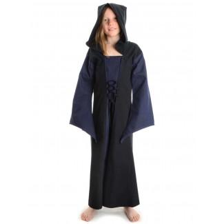 Mittelalter Kinderkleid Obilot in Blau-Schwarz Frontansicht