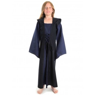 Mittelalter Kinderkleid Obilot in Blau-Schwarz Frontansicht 2