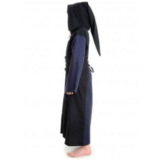 Mittelalter Kinderkleid Obilot in Blau-Schwarz Seitenansicht