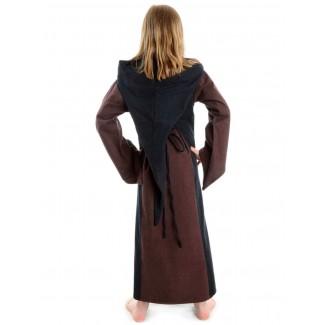 Mittelalter Kinderkleid Obilot in Braun-Schwarz Rückansicht