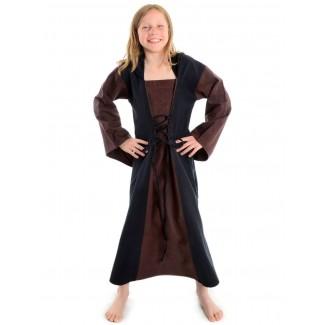 Mittelalter Kinderkleid Obilot in Braun-Schwarz Frontansicht