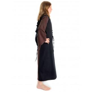 Mittelalter Kinderkleid Obilot in Braun-Schwarz Seitenansicht