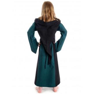 Mittelalter Kinderkleid Obilot in Grün-Schwarz Rückansicht