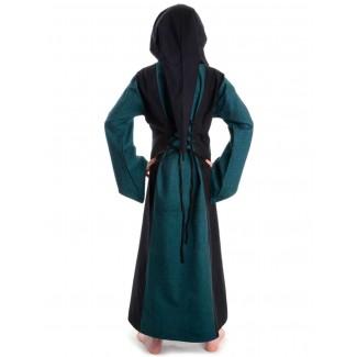 Mittelalter Kinderkleid Obilot in Grün-Schwarz Rückansicht 2