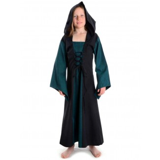 Mittelalter Kinderkleid Obilot in Grün-Schwarz Frontansicht