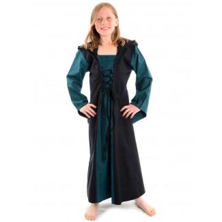 Mittelalter Kinderkleid Obilot in Grün-Schwarz Frontansicht 2