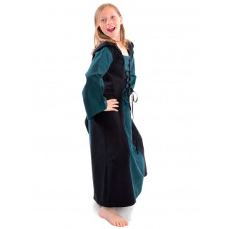 Mittelalter Kinderkleid Obilot in Grün-Schwarz Seitenansicht