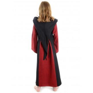 Mittelalter Kinderkleid Obilot in Rot-Schwarz Rückansicht