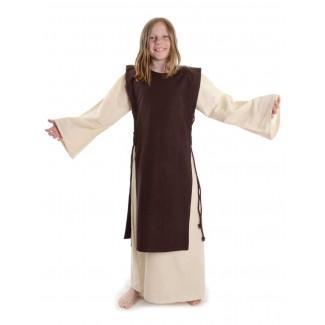 Mittelalter Kinderkleid Alyze (Set) in Beige-Braun Frontansicht