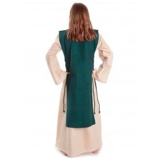 Mittelalter Kinderkleid Alyze (Set) in Beige-Grün Rückansicht