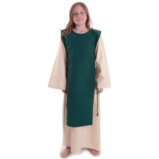 Mittelalter Kinderkleid Alyze (Set) in Beige-Grün Frontansicht