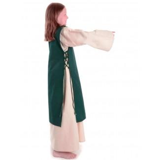 Mittelalter Kinderkleid Alyze (Set) in Beige-Grün Seitenansicht