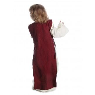 Mittelalter Kinderkleid Alyze (Set) in Beige-Rot Rückansicht
