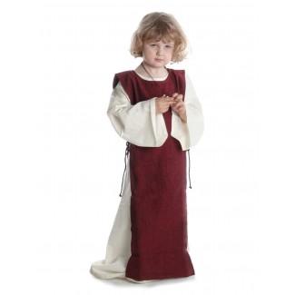 Mittelalter Kinderkleid Alyze (Set) in Beige-Rot Frontansicht