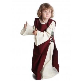 Mittelalter Kinderkleid Alyze (Set) in Beige-Rot Frontansicht 2