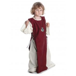 Mittelalter Kinderkleid Alyze (Set) in Beige-Rot Frontansicht 3