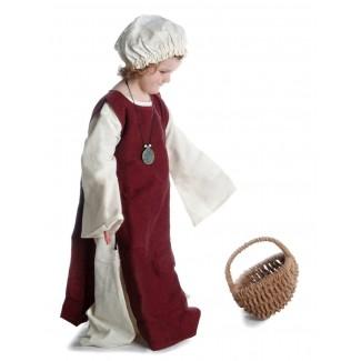 Mittelalter Kinderkleid Alyze (Set) in Beige-Rot Seitenansicht