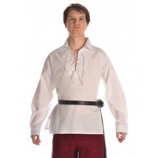 Mittelalter Schnürhemd Askalon in Weiß Frontansicht