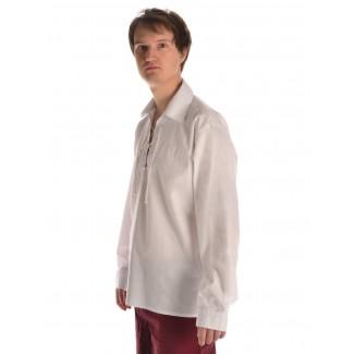 Mittelalter Schnürhemd Askalon in Weiß Seitenansicht 2