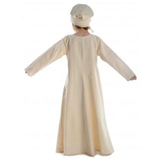 Mittelalter Kinderkleid Geirdriful in Beige Rückansicht