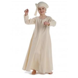 Mittelalter Kinderkleid Geirdriful in Beige Frontansicht 2