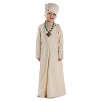 Mittelalter Kinderkleid Geirdriful in Beige Frontansicht 3