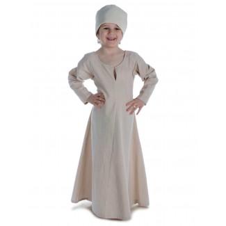 Mittelalter Kinderkleid Geirdriful in Hanffarben Frontansicht